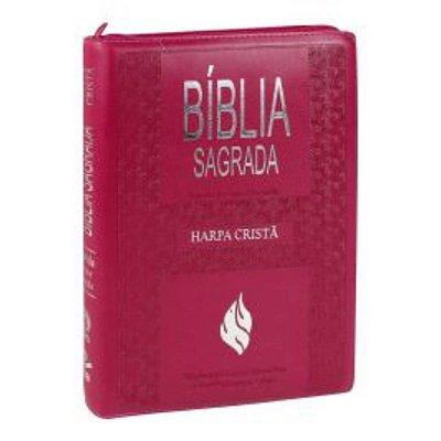 Bíblia Sagrada Letra EXtraGigante / Edição Letras Vermelhas / Ziper  /  Harpa Cristã / Rosa escuro / SBB