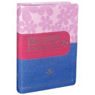 Bíblia Sagrada Entre Meninas e Deus / NTLH / Primavera - Pink e jeans / borda prateada / SBB