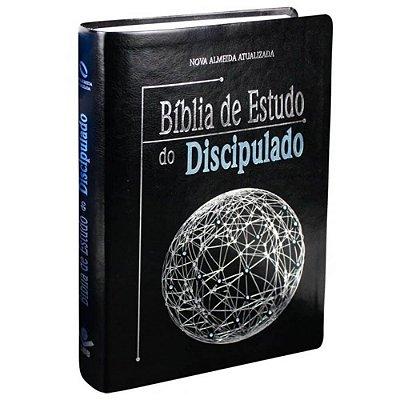 Bíblia de Estudo do Discipulado / Grande/ Capa preta/ Couro sintético borda prateada / Nova Almeida Atualizada / SBB
