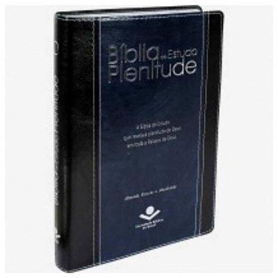Bíblia de Estudo Plenitude / Almeida Revista e Atualizada / Preta e azul borda prateada / Novo Leiaute / Índice / SBB