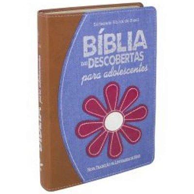 Bíblia das Descobertas para Adolescentes na Nova tradução na linguagem de Hoje capa caramelo com azul flor / SBB