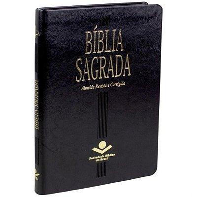 Bíblia Sagrada Slin Almeida Revista e Corrigida capa couro sintético cor Peta com borda dourada SBB