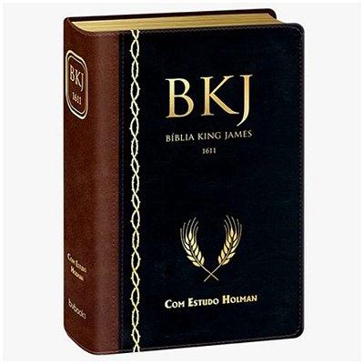 Bíblia de Estudo King James 1611 Com estudos Holman - Marrom com Preto borda dourada