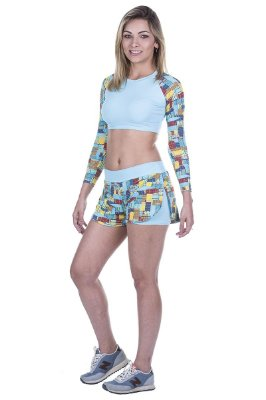 Conjunto Top Cropped e Short Mosaico Fitness