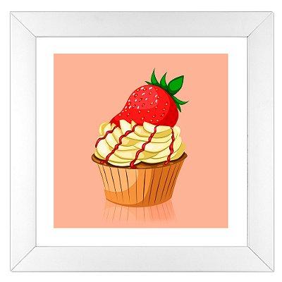 Quadro para cozinha - Cupcake de Morango - Coleção Sugar Lovers