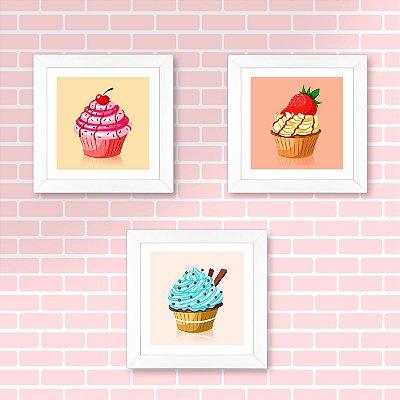Conjunto Sugar Lovers com 3 quadros 23x23 cm