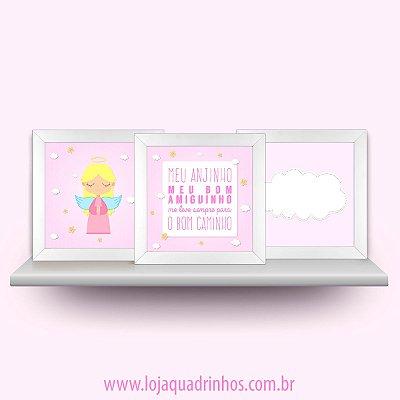 Conjunto Meu Anjinho com 3 quadros 23x23 cm - meninas