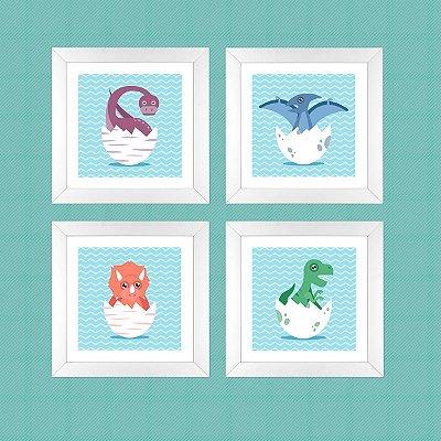 Conjunto Baby Dino com 4 quadros 23x23 cm