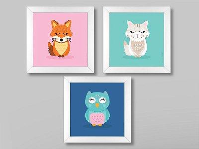 Conjunto Animais Fofos com 3 quadros 23x23 cm