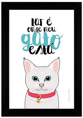 Quadro de Gato Branco - Lar é Onde Meu Gato Está