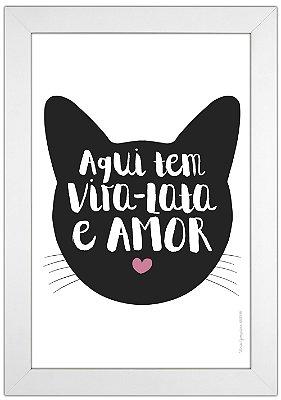 Quadro de Gato Vira-Lata Preto - Aqui tem Vira-Lata e Amor