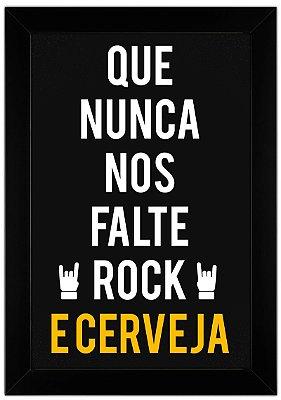 Quadro de Frase - Que Nunca Nos Falte Rock e Cerveja