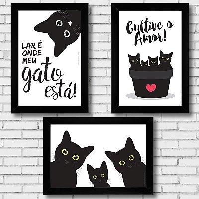 Conjunto Gatos Pretos com 3 quadros