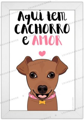 Quadro de Cachorro Pinscher Marrom - Aqui tem Cachorro e Amor