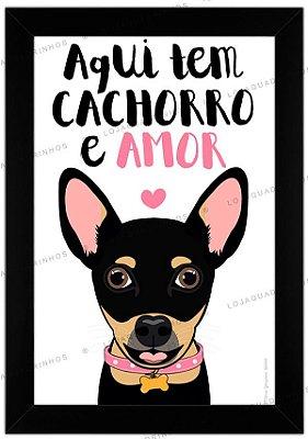 Quadro de Cachorro Pinscher Preto - Aqui tem Cachorro e Amor