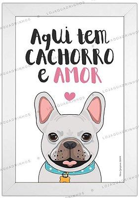 Quadro de Cachorro Bulldog Branco - Aqui tem Cachorro e Amor