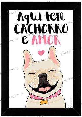 Quadro Cachorro Bulldog Creme - Aqui Tem Cachorro e Amor