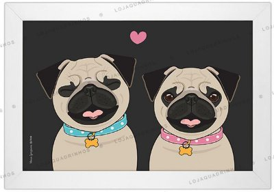 Quadro de Cachorro - Casal de Pugs