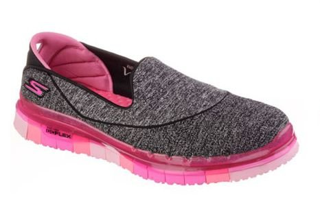 WOMENS SKECHERS GO FLEX 14010 - BLACK/HOTPINK