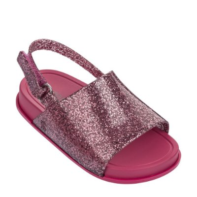Mini Melissa Beach Slide Sandal - Rosa Glitter
