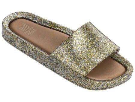 Sandália Melissa Mel Beach Slide - Vidro Ouro com Glitter