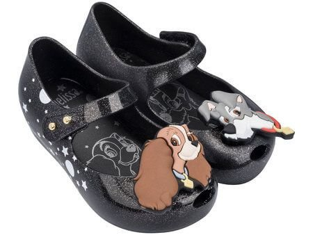 MINI MELISSA  ULTRAGIRL + LADY AND THE TRAMP 32262 - PRETO/GLITTER PRATA