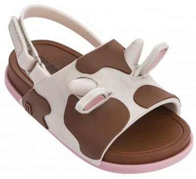 Mini Melissa Beach Slide Sandal II - Bege Marrom Rosa