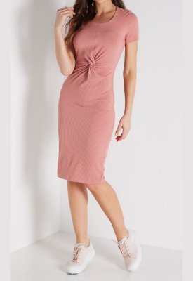Vestido Colcci Midi Canelado Rose