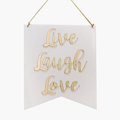 Flâmula - Acrílico Branco Live Laugh Love