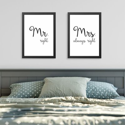 Quadros Quarto Casal - Mr. right e Mrs. always right