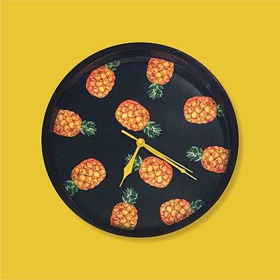 Relógio Parede Abacaxi Preto
