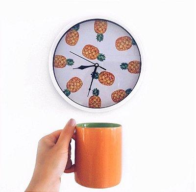 Relógio Parede Abacaxi Branco