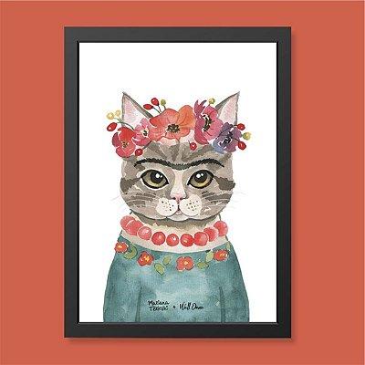 Quadro Gato Frida Aquarela