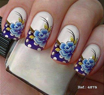 Película de unha- Floral Azul