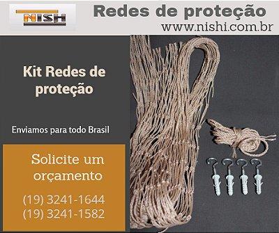 KIT INSTALAÇÃO REDE DE PROTEÇÃO MALHA 3 - MEDIDAS 1,50X1,20