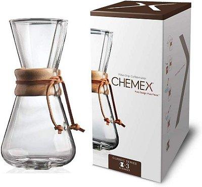 Chemex com alça madeira 3 xícaras