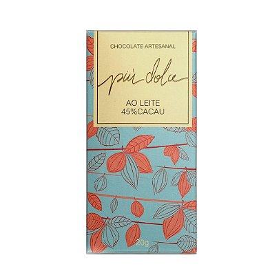 Chocolate Artesanal ao leite 45% Cacau - Piu Dolce (20g)