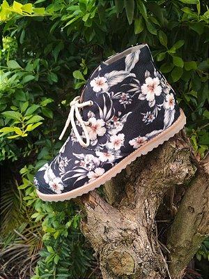 Bota cano curto Floral Black