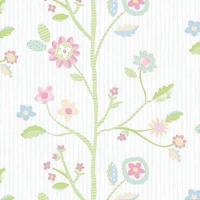Papel de Parede Infantil de Folhas, Árvore e Coruja Colorido Vinílico Lavável