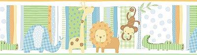 Faixa Infantil Bichos, Girafa, Macaco, Jacaré e Elefante Vinílico Lavável