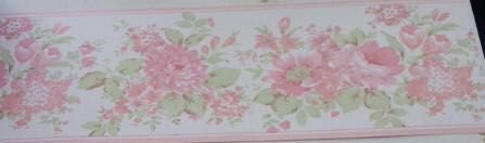 Faixa de Papel Floral Rosa fundo bege Bobinex Bambinos 5523