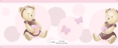 Faixa Urso Borboleta Rosa Poa