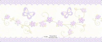 Faixa Borboletas e Flores na cor Lilás