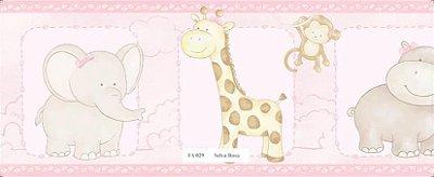 Faixa Bichinhos (Elefante, Girafa, Macaco) na cor Rosa