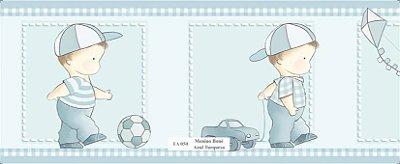 Faixa Menina Jogando Bola Carrinho Pipa Azul Claro