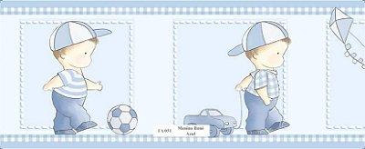 Faixa Menino Brincando Bola Carrinho Pipa Azul