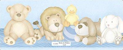Faixa de Animais (Urso, Leão, Coelho e Girafa) Azul