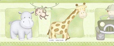 Faixa Animais (Girafa, Macaco, Hipopótamo e Carro) Verde