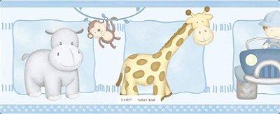 Faixa Animais (Girafa, Macaco, Hipopótamo e Carro) Azul