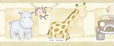 Faixa Animais (Girafa, Macaco, Hipopótamo e Carro) Bege